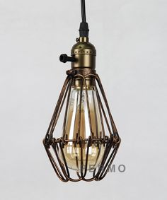 Permo Rusty Brown Metal Vintage Style Industrial Opening and Closing Hanging Light Pendant Wire Cage Lamp Guard Lamp Light, Light Pendant, Black Pipe, Iron Wire, Vintage Fashion, Vintage Style, Vintage Industrial, Hanging Lights, Cage