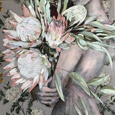 """Jessica Watts Art on Instagram: """"""""King Sugar Bush and His Queen"""" 90cmx90cm. Gotta love the King Protea - he belongs to one of the oldest families of flowers on earth…"""""""