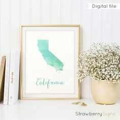 California map printable, Watercolor, State map, California print, California gifts, California sign, California wall art, State prints