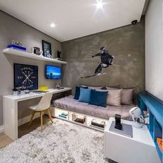 71 Stunning Small Bedroom Design Ideas Bedroom Ideas For Small Rooms Bedroom Design Ideas Small Stunning Gamer Bedroom, Home Office Bedroom, Boys Bedroom Decor, Cozy Bedroom, Bedroom Ideas, Ideas For Boys Bedrooms, Bedroom Red, Single Bedroom, Budget Bedroom