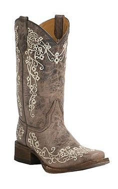 Corral Youth Vintage Tan w/ Ivory Floral Embroidery Square Toe Western Boots