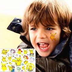 25 stil Çocuk Geçici Dövme Vücut Sanatı, Pikachu Pokemon Gitmek Tasarımlar, flaş Dövme Etiket 3-5 gün Tutmak Su Geçirmez 17*10 cm