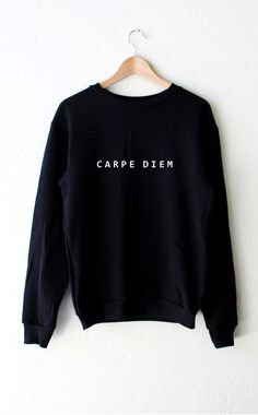 "- Description Details: Super soft & cozy 'Carpe Diem' oversized crew neck fleece sweatshirt in black. Brand: NYCT Clothing. Unisex, oversized/loose fit. Measurements: (Size Guide) XS/S: 38"" bust, 27"""