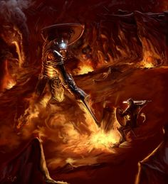 """""""Thus Fingolfin came alone to Angband's gates, and he sounded his horn, and smote once more upon the brazen doors, and challenged Morgoth to come forth to single combat. And Morgoth came. Glorfindel, Morgoth, Jrr Tolkien, Gandalf, Legolas, Fantasy Images, Fantasy Art, Lotr, Das Silmarillion"""