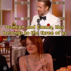 …and gave a sweet nod to La La Land co-star Emma Stone and director Damien Chazelle. | Ryan Gosling's Golden Globes Speech Was All About Eva Mendes And No YOU'RE Crying