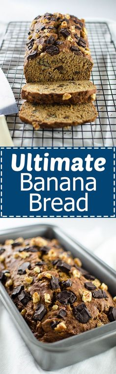 Ultimate Banana Bread – Each bite is filled with bananay goodness and chunks of dark chocolate and walnuts. It's OIL-FREE and HEALTHY enough to eat for breakfast or dessert! (Vegan) | RECIPE at NomingthruLife.com