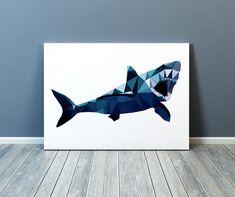 Geometric art Shark poster Nautical print by littleoxprints Shark Tattoos, Wolf Tattoos, Tatoos, Shark Painting, Shark Art, Geometric Art, Colorful Decor, Animal Drawings, Boy Bedrooms