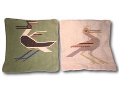 Two Vintage Woven Native Bird Wool Tapestry Folk Wall Art by Heathertique on Etsy