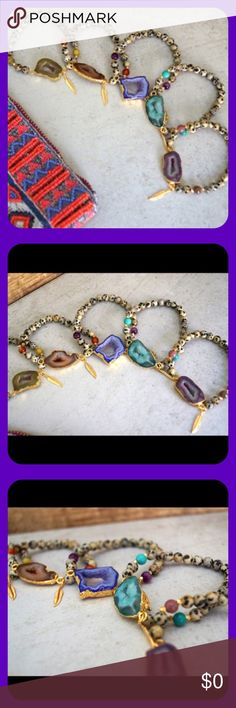 Druzy Pendant Dalmatian Jasper Bracelets! ✨Gorgeous Gold Plated Druzy Pendant Stretch Bracelets with Dalmation Jasper Beads! Finished with Function & Fringe's Signature Gold Plated Feather Charm! Vibrant Colors with 3 Different Gemstones! Indian Agate, Orange Agate, African Turquoise!✨ I have 3 Bracelets...Please specify what color you want in the comments. Function & Fringe Jewelry Bracelets