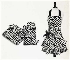 apron with ruffles & bow in zebra fabric from sin in linen...adorable!