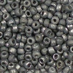 "Czech 8/0 (3mm) Etched Crystal Chrome Dark glass round rocaille seed beads. A muted deep charcoal/silver grey, with a part frosted, part textured metallic finish, a/k/a ""vintage finish"", which gives these beads a rustic look."