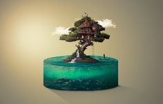 Tree House – Deeezy – Freebies with Extended License Epoxy Resin Art, Diy Resin Crafts, Environment Concept Art, Photoshop Design, Surreal Art, Artisanal, Glass Art, Arts And Crafts, Sculpture
