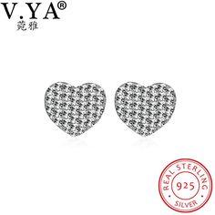 V.YA 925 Sterling Silver Jewelry for Woman Heart Shape Silver Earrings Women Luxury Stud Earrings for Party Accessories