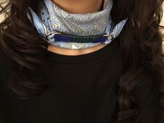 Hermès silk bandana and leather scarf ring   iriiriイリイリtop