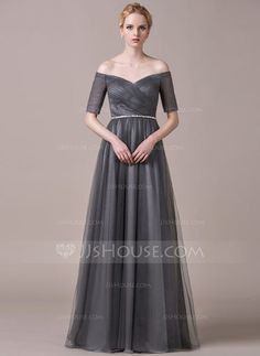 A-Line/Princess Off-the-Shoulder Floor-Length Tulle Evening Dress With Ruffle…