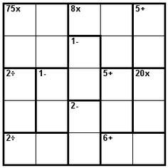 Number Logic Puzzles: 23863 - Kenken size 5