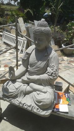 "Life size Buddha garden statue in the  ""Gesture of Protection""  abhaya-mudrâ. Fresh cast natural no finish, no sealer. $300."