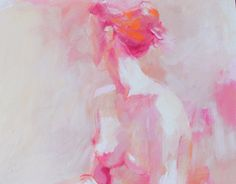 Soft Pink Original Oil Painting of Seated Nude by Krystyna81, $325.00