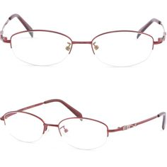 Half Rimless Light Oval Womens Memory Titanium Frame RX Prescription Glasses Red #Unbranded