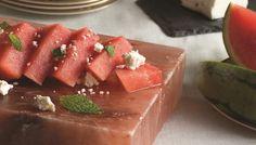 Watermelon and Feta on a Salt Block | The Splendid Table Himalayan Salt Block Cooking, Himalayan Salt Plate, Cooking 101, Cooking Recipes, Cooking Stone, Cooking Lamb, Cooking Pasta, Greek Cooking, Cooking Bacon