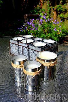DIY Tutorial on How to Make Citronella Candles for the garden via Garden Therapy