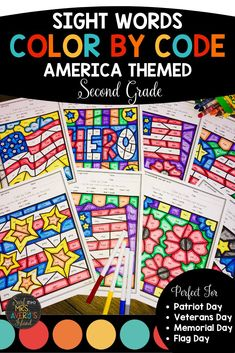 These patriotic themed color by code printables are full of second grade sight words from the Dolch and Fry high frequency word lists and are perfect for increasing your students' reading fluency and reading comprehension skills.  Click here to grab your no-prep packet of engaging second grade sight word activities! #secondgradeactivities #dolch #frysightwords #literacycenters #morningwork #fastfinisheractivities #readingfluency #daily5 #workonwords #secondgrade #reading #sightwords #wordwork