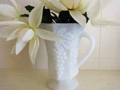 Vintage Milk Glass Pitcher, Anchor Hocking Glassware, Jug, Grape Design, Wedding Pitcher, Wedding Table Decor, by littlebitvintage2 on Etsy