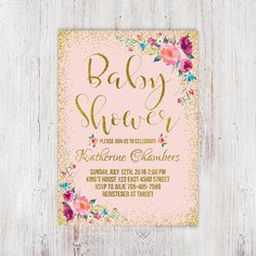 Blush pink and gold baby shower invitation от InvitationsDigital                                                                                                                                                                                 More