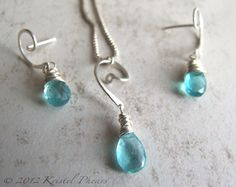 Blue Apatite Gemstone Earrings & Necklace Gift Set in sterling by Kris P Studio