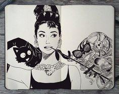 Sketchy Stories by Kerby Rosanes. Audrey Hepburn.