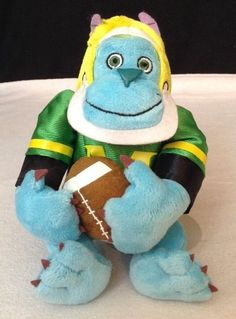 Disney Store Monsters Inc University FOOTBALL SULLEY Blue Bean Bag Plush Toy EUC #Disney