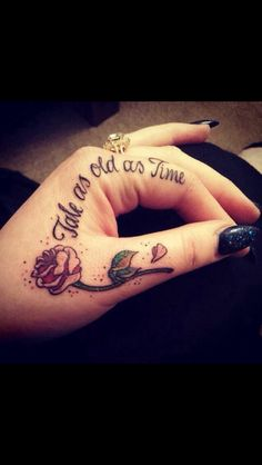 I have always wanted a beauty and the beast tattoo. I love the placement.