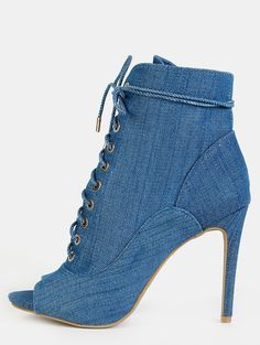 Online shopping for Jean Peep Toe Stiletto Ankle Booties BLUE DENIM from a great selection of women's fashion clothing & more at MakeMeChic.COM.