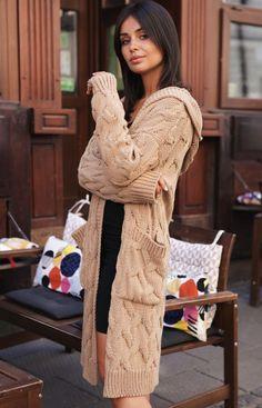 BE Kardigan z kapturem karmelowy BK033 Cardigan Long, Pulls, Everyday Fashion, Modeling, Sari, Sweaters, Cardigans, Gilets, Tricot