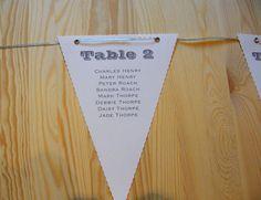 Handmade Personalised Wedding Table Plan Bunting White Card Vintage Theme | eBay