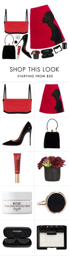 """""""2234"""" by mariimontero ❤ liked on Polyvore featuring T By Alexander Wang, Christopher Kane, Christian Louboutin, Dolce&Gabbana, Too Faced Cosmetics, Fresh, Ginette NY, Chanel, NARS Cosmetics and Diptyque"""
