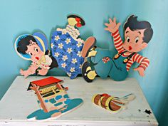 Vintage Jack & Jill Nursery Rhyme Wall Hanging, 1949, Dolly Toy Co.