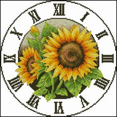 Sun flower clock #2 pattern cross stitch pattern