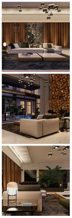 Оригинальная гостиная AJ Villa в Сардинии, Италия, была спроектирована мастерами дизайна: Irina Dzhemesyuk и Vitaly Yurov. Акцентом помещения явно являются необычные стены и современные светильники.  Огромная инсталляция на стене, удачно освещается дополнительными прожекторами, а в зоне чтения, на столике установлена интересная лампа на подставке. Комната просторна и уютна, имеет хорошее сочетание светлых и темных тонов. #освещение #светильники #светодиоды #подсветка #светодизайн…