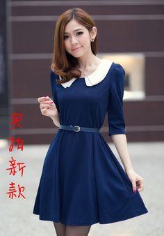 Тёмно-синее  с белым воротником и рукавом до локтя Коллекция 2014: купить темно синее платье на подростка