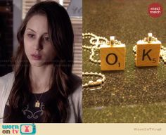 "Spencer's ""S"" necklace on Pretty Little Liars. Outfit Details: http://wornontv.net/27595 #PLL #fashion"