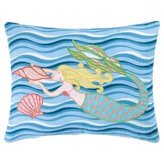 Bring a pop of ocean-chic charm to your sofa or favorite reading nook with this cotton pillow, featuring a swimming mermaid motif for eye-catching style.