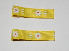 #craftshout #3/18 #spring #fashion  Daisy Ribbon Hair Clips  Yellow Ribbon Hair Clips  by Sapphire107