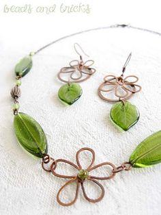 """Collana e orecchini """"Come foglie"""""""