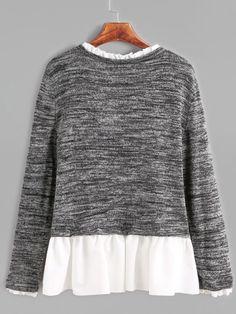 Shop Dark Grey Contrast Ruffle Trim T-shirt online. SheIn offers Dark Grey Contrast Ruffle Trim T-shirt & more to fit your fashionable needs.