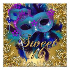 Sweet Sixteen 16 Masquerade Blue Gold Purple Personalized Invite