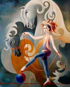 """Photo from album """"Art by Jean-Claude Desplanques"""" on Yandex. Art And Illustration, Art Gallery, Circus Art, Surrealism Painting, Art Moderne, Russian Art, Fantastic Art, Horse Art, French Artists"""