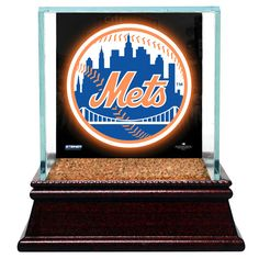 New York Mets Glass Single Baseball Case with Team Logo Background and Authentic Field Dirt Base (MLB Auth) - $39.99