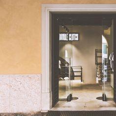 Double Clutch - Entrance of sportswear shop in Verona.