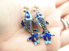 Enamel Fish Earrings - Sterling SIlver - Vintage